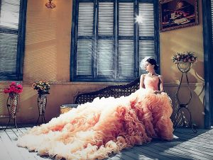 Peachy wedding dress
