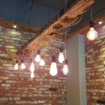 Edison light bulbs hanging for exposed beam